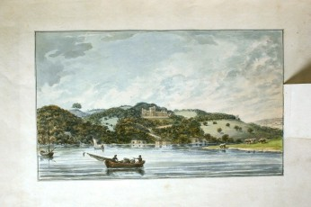 Repton view of Pentillie Castle Cornwall after copyright Pentillie estate_