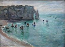 Claude Monet-Etretat_the Aval door fishing boats leaving the_harbour