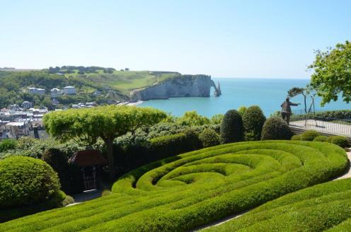 View over Etretat and the Falaise d'Aval from Le Jardin Elément