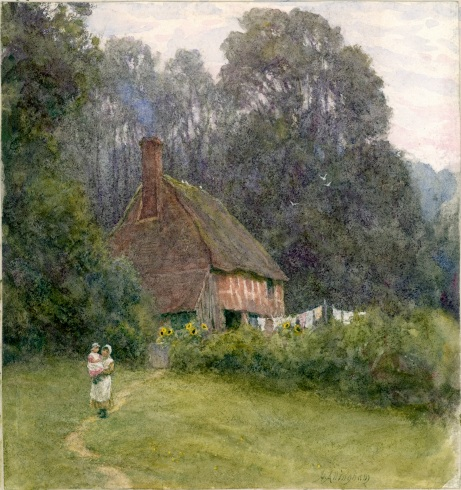 Helen Allingham (1848-1926) 'Cottage with Figures'. Drawing, bodycolour and watercolour on paper, date unknown © Laing Art Gallery