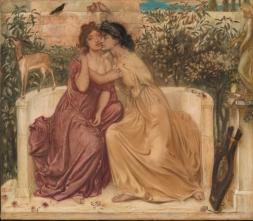 Sappho and Erinna in a Garden at Mytilene, 1864 by SImeon Solomon. © Tate, London 2018 (crop)