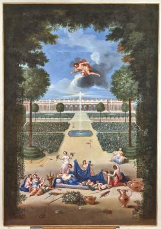 Vue des parterres du Trianon de marbre avec Zéphyr et Flore endormie © château de Versailles, Dist. RMN - Grand Palais Christophe Fouin