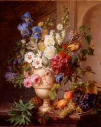 Gerard van Spaendonck, Flowers in an Alabaster Vase and Fruit on a Marble Slab, 1781, oil on canvas, 100 x 82cm ©Het Noordbrabant Museum, 's-Hertogenbosch