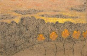 Paysage aux arbres jaunes ©Anne-Claude Barbier