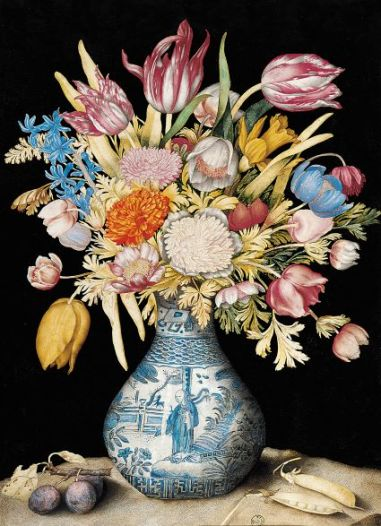 Chinese Vase with Tulips, Anemones, Daffodils, a Hyacinth, and a Calendula, with Two Plums and Two Pea Pods ©Florence, Gallerie degli Uffizi, Gabinetto dei Disegni e delle Stampe