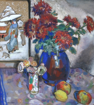 Gustave de Smet_Flower still life with fruit and Japanese print ©private collection